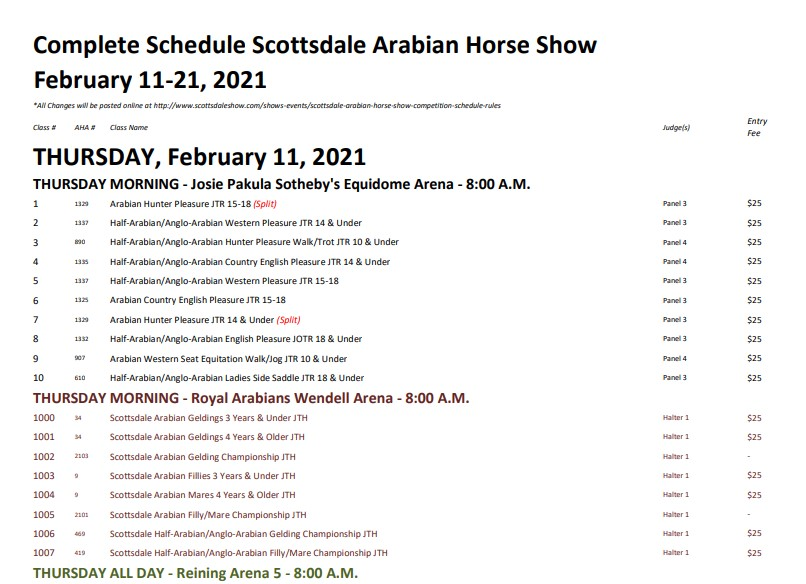 complete schedule of Scottsdale horse show